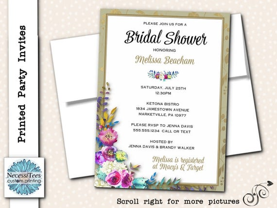Printed Party Invitations Printed Invites with Envelopes – Printed Party Invitations