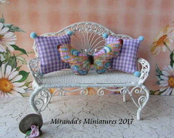 Dollhouse Miniature Butterfly and Lavender checked pillow set cottage chic nature