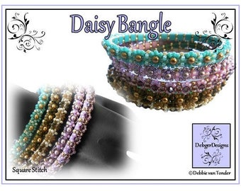 Tila Beading Pattern, Tutorial, Bangle - DAISY