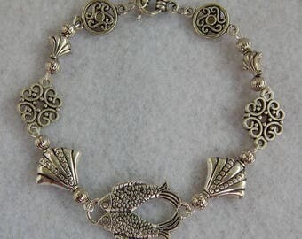 "Silver Double Fish Link Bracelet Jewelry Handmade NEW 8"" Beaded NEW Accessories Fashion"