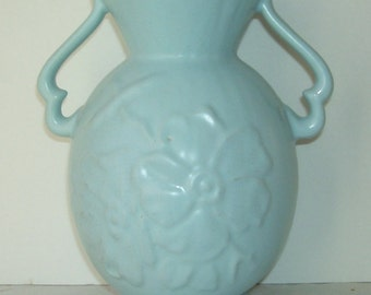 Weller Wild Rose Blue Pottery Vase with Handles,  Weller Vase 10 Inches high, Studio Line Vase, Pottery Vase, Shabby Chic, Home Decor Weller