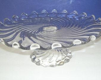 Beautiful Pin Wheel Glass Pedestal Cake Plate, Wedding Cake Stand, Swirled Cake Pedestal, Wedding Gift, Vintage Cake Stand, Dessert Plate