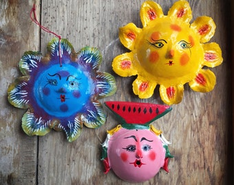 Set of three vintage colorful Mexican folk art coconut masks, Guerrero Mexico handmade hand-painted collectible seed pod coco shell masks