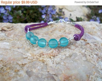 Leather Bracelet Blue and Purple Beaded Bracelet Music Festival Jewelry for Teens Tweens and Women Colorful Boho Bracelet Bohemian Jewelry