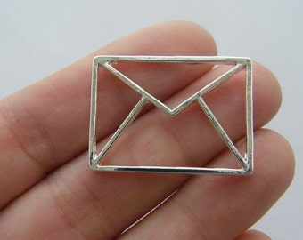 4 Envelope charms silver plated PT71