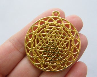 2 Sri Yantra meditation pendants gold tone  GC5