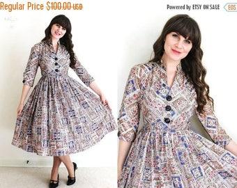 ON SALE 1950s Dress / 50s Dress / 50s Folk Print Full Skirt Dress
