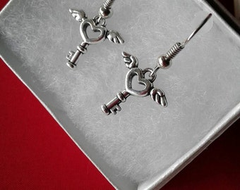 Key Earrings,Heart Earrings,Key to My Heart Earrings