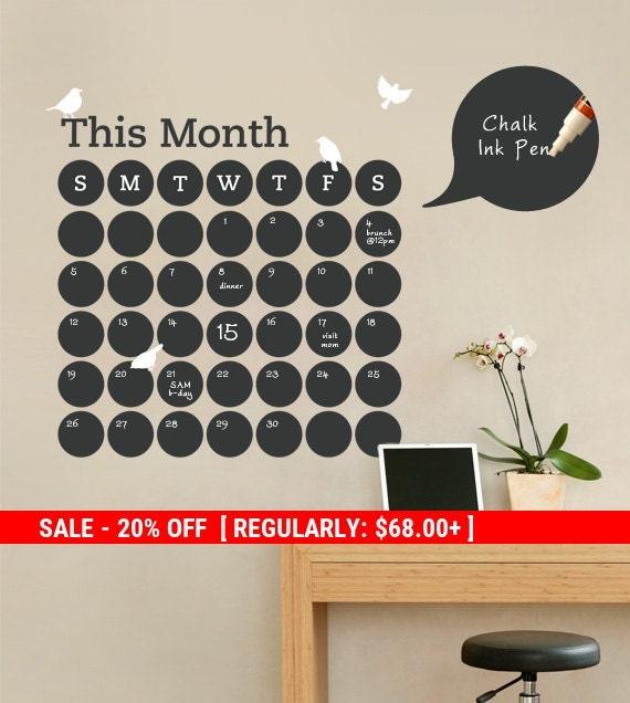 Holiday Sale - Daily Dot Chalkboard Wall Calendar - Vinyl Wall Decal