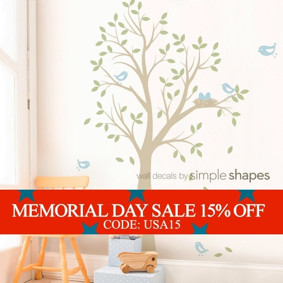 Memorial Day Sale - THE ORIGINAL Tree with Birds and Nest Decal - Children's Vinyl Wall Decal Set