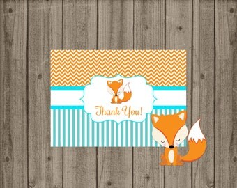 Fox Thank You Card, Fox Baby Shower Thank You Card, Fox Baby Shower, Fox Birthday, Thank You Card, Instant Download