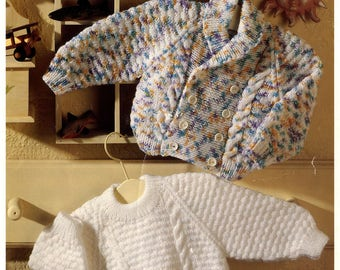 Download PDF Knitting Pattern - Cabled Sweater and Jacket -  4 Sizes from Birth to 3 years