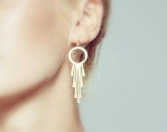 Bridal Earrings Gold, Wedding Earrings Gold, Bridal Earrings Chandelier, Gold Tassel Earrings, Goddess Earrings, Elegant Earrings, gold...