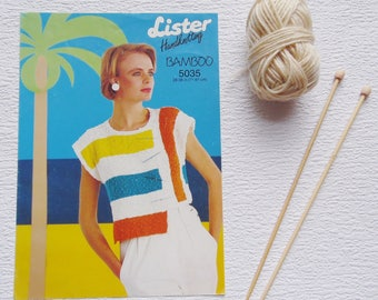 Vintage 1980s Knitting Pattern, Lister Handknitting Pattern 5018, size 28-38in (71-197cm), Knitting, Bamboo Top Pattern,