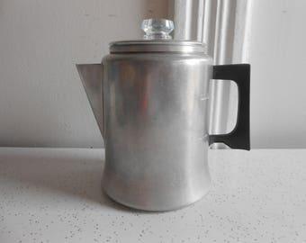 Vintage Mirro Non Electric Stove Top Coffee Percolator 4-7 Cup Coffee Percolator 50's Era
