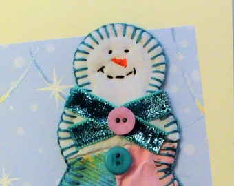 Christmas holiday card, handmade snowman card, winter paper goods OOAK thank you note, vintage quilt aqua blue, sparkly ribbon greeting card