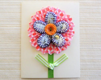 Flower card, handmade birthday card, hand stitched, Easter greeting, vintage quilt, thank you note card, paper goods, OOAK