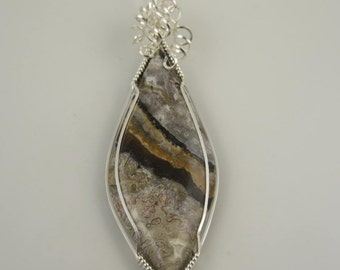WSP-0277 Handmade Lace Agate Gemstone Pendant Wire Wrapped With Argentium Sterling Silver Wire