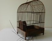 Vintage Bird Cage . Birdcage . Rusty Metal and Wood . Removable Bottom Tray . Spring Decor . Porch Decor