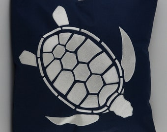"Turtle Pillow Cover, Embroidery, Nautical Pillow, Beach decor, Decorative Pillow, Accent Pillow, 18""x18"", Navy, Ready to ship"