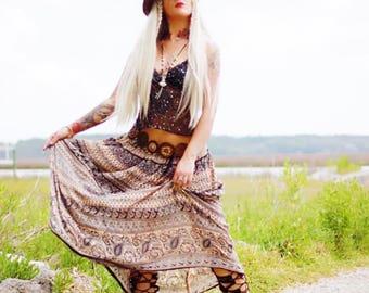XL Boho Hippie Festival indian print skirt, Bohemian Gypsy soul vintage skirt, Music Festival Clothing Summerfest, True Rebel Clothing