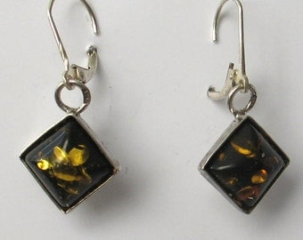 Vintage  Square Sterling Silver and  Amber Earrings
