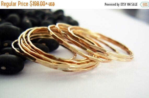 SALE 20 off - Delicate. Hammered 14K Gold Thin Ring. Alternative Wedding Band. Stacking rings. One 14 Karat Yellow Gold Ring. Recycled Solid
