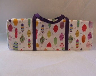 Carrying Case for the Silhouette Cameo 3 / Cricut Explore Air / Brother ScanUcut / Multi Bright Color Feather Print Fabric