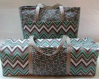 Mint and Grey Chevron Carrying Case for the Cricut Explore Air /Cricut Explore Air 2 / Silhouette Cameo 3 / Brother ScanNCut / Accessory Bag