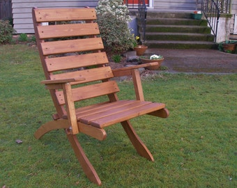 Comfy High Back Cedar ArmChair for Garden & Patio - Storable! - Choose from 12 Stain Colors - Handcrafted Quality by Laughing Creek