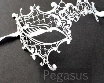 White Phantom of the Opera Venetian Filigree Scroll work Metal  Masquerade Mask (1 Piece, 2 color option) Laser Cut Mask of Light Metal