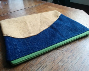Denim clutch with a soft leather piece of leather for an embellishment - floral cotton lining in teal and green