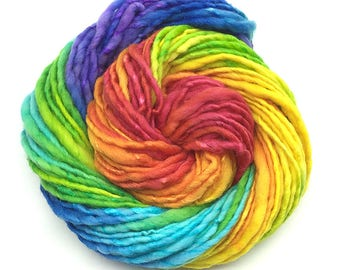 Silk and merino handspun rainbow yarn, bulky/chunky - 60 yards, 2.1 ounces and 60 grams