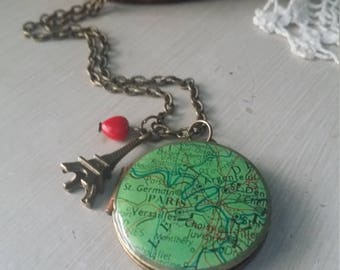 VIntage Paris map brass locket