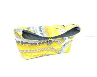 Fold over clutch, pouch purse, button closure, yellow grey, foldover handbag, gift for her under 25, colorful handbag, fold over purse