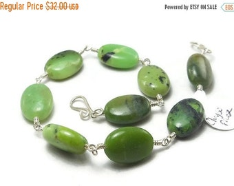15% OFF SALE Green Chrysoprase Argentium Sterling Silver Wire Wrapped Bracelet