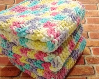 Fleur De Lavande Washcloths in Blue, Yellow, Pink, Purple, White - Set of Three Crocheted Wash Cloths - Bathroom, Kitchen Dishcloths