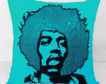 Shop for Electrifying Jimi Hendrix Pillow in surf blue silk-Throw pillow case