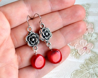 Red coral earrings Rose earrings Gift for her Romantic jewelry Flower earrings Red earrings Silver and read coral earrings Bohemian jewelry