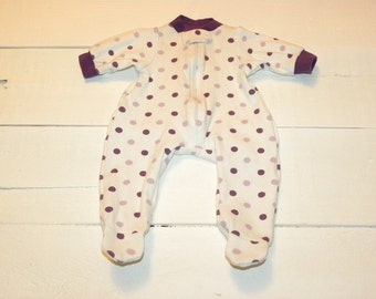 White Polka Dot Patterned Footed Sleeper - 16 - 17 inch doll clothes