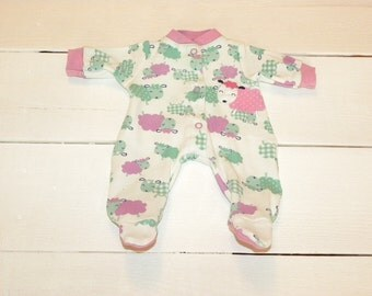Little Lamb Patterned Footed Sleeper - 14 - 15 inch doll clothes