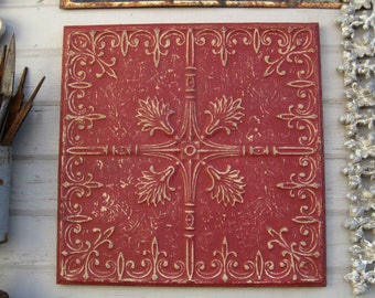 Framed Tin Ceiling Tile. Architectural salvage.  Metal red wall decor.  Red wall art. 10th anniversary gift. Pressed tin tile.