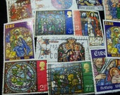 20 Christmas Postage Stamps, Stained Glass Stamps, Vintage Stamps, Used Stamps,Stained Glass