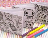 Set of 3 Color Yourself Tokidoki Mini Notebook, Coloring Book, Kawaii Memo Pad, Kawaii Journal, Pocket Book, Diary, Mini Notepad, Donutella