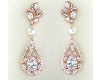 Rose Gold Bridal Earrings Wedding Cubic Zirconia  Tear Drops Pearl Bridal Jewelry Rose Gold Crystal Wedding Earrings-Victoria Earrings