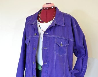 "Violet Mens Large Denim JACKET - Purple Dyed Upcycled Disney Store Denim Trucker Jacket - Adult Mens Size Large (50"" chest)"
