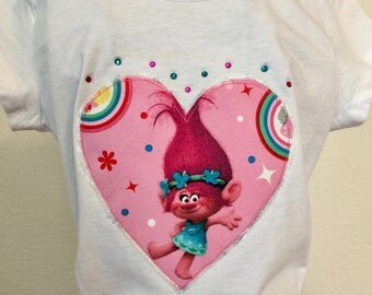 Pink Trolls and Cupcakes twirly skirt & shirt set perfect for every Trolls fan!