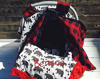 Bear and Plaid Boy Car Seat Cover/ Car Seat Canopy Custom 5 Piece Gift Sets