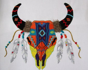 Cow Skull Embroidered Quilt Block