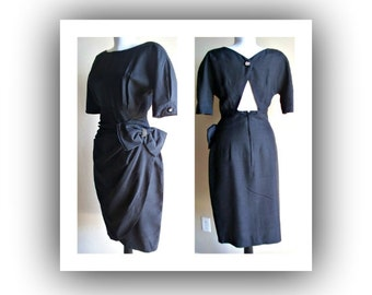 Vintage 80s party black silk dress - cocktail - evening - party time
